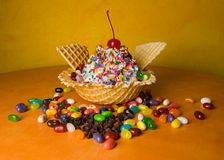 Frozen Dessert. Treat in a waffle bowl Royalty Free Stock Photos