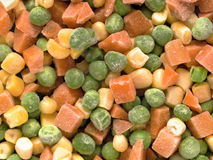 Frozen diced vegetables. Close up of frozen diced vegetables food background royalty free stock photo