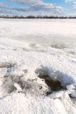 Frozen Dnieper River in Kiev, Ukraine, During Winter Royalty Free Stock Photography