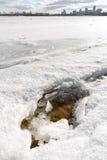 Frozen Dnieper River in Kiev, Ukraine, During Winter Royalty Free Stock Photo
