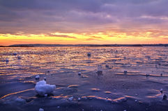 Frozen Dnieper. Sunrise on the frozen Dnieper, Ukraine Royalty Free Stock Image