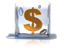 Frozen dollar Royalty Free Stock Photography