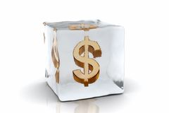 Frozen Dollar. A golden Dollar symbol frozen inside an ice cube (3D rendering Royalty Free Stock Photos