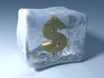 Frozen dollar. 3d illustration of frozen in ice dollar sign Stock Photo