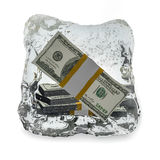Frozen dollar. On white background stock illustration