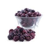 Frozen domestic wild blackberries - isolated on white background Stock Photo