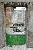 Frozen door. In Bulgarian village after ice rain Royalty Free Stock Image