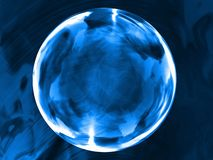 Frozen drop. Blue round 3d sphere with reflections Stock Photos