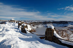 Frozen Dry Falls. In a sunny winter day, Washington, USA Royalty Free Stock Image