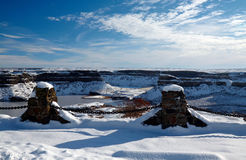 Frozen Dry Falls. In a sunny winter day, Washington, USA Royalty Free Stock Images