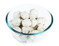 Frozen dumplings in a glass dish Royalty Free Stock Photography