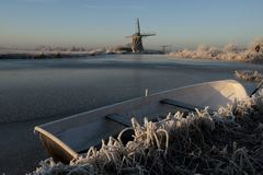 Frozen dutch river Royalty Free Stock Images