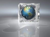 Frozen Earth. Conceptual Earth globe frozen in an ice cube - 3d render Stock Photos