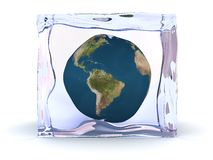 Frozen earth. Abstract 3d illustration of earth globe inside of ice cube Stock Image