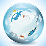 Frozen earth in the glass sphere Stock Images