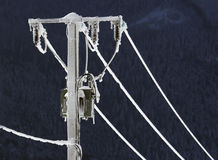 Frozen electric pole Royalty Free Stock Images