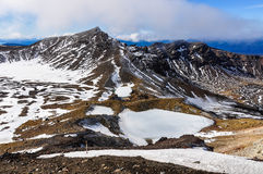 Frozen Emerald Lakes in the Tongariro National Park, New Zealand Royalty Free Stock Photos
