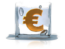 Frozen euro. Abstract 3d illustration of ice cube with euro sign inside Royalty Free Stock Photography