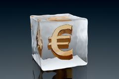 Frozen Euro. A golden Euro symbol frozen inside an ice cube (3D rendering Royalty Free Stock Images