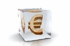 Frozen Euro. A golden Euro symbol frozen inside an ice cube (3D rendering Stock Images