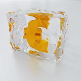 Frozen euro. Block of ice with symbol of euro frozen inwardly on a light background Royalty Free Stock Images