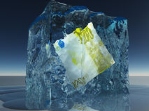 Frozen 200 Euro Note. Ice Royalty Free Stock Photo