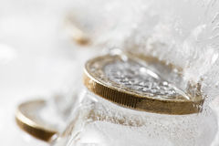 Frozen Euros Royalty Free Stock Photography