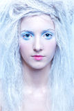Frozen fairy. Close-up portrait of beautiful frozen fairy nymph girl Royalty Free Stock Image