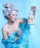 Frozen fairy with lantern Royalty Free Stock Photos