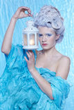 Frozen fairy with lantern Stock Images