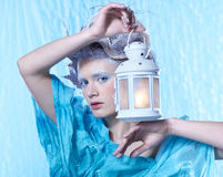Frozen fairy with lantern Stock Photos