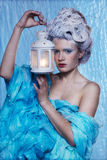 Frozen fairy with lantern Stock Image