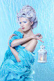 Frozen fairy with lantern Stock Photography