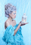 Frozen fairy with lantern Royalty Free Stock Image