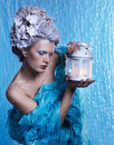 Frozen fairy with lantern Royalty Free Stock Images
