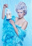 Frozen fairy with lantern Royalty Free Stock Photography
