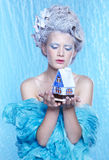 Frozen fairy with toyhouse Stock Image