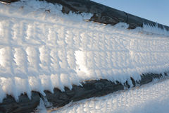 Frozen fence Stock Images