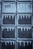 Frozen fence detail stock photo