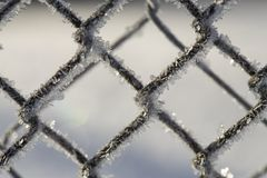 Frozen Fence Made Of Metal Mesh Covered With Frost Crystals, An Royalty Free Stock Photography