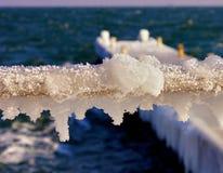 Frozen fence on pier in the ice. On the northern coast of the Black Sea. Closeup. Odessa, Ukraine Stock Photos