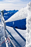 Frozen fence at the top of the glacier Royalty Free Stock Images