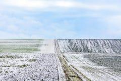 Frozen fields in wintertime in Bavaria Stock Photography