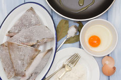 Frozen fish with egg Stock Image