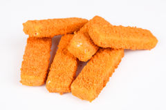 Frozen fish fingers. With white background Royalty Free Stock Images