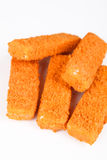 Frozen fish fingers. With white background Royalty Free Stock Photos