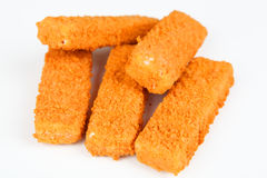 Frozen fish fingers. With white background Royalty Free Stock Image