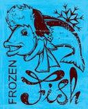 Frozen fish. Happy frozen fish . vector illustration Royalty Free Stock Image