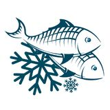 Frozen fish symbol. Frozen fish and seafood symbol Royalty Free Stock Photo
