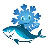 Frozen fish symbol. Frozen fish is a fun character for business Royalty Free Stock Photography